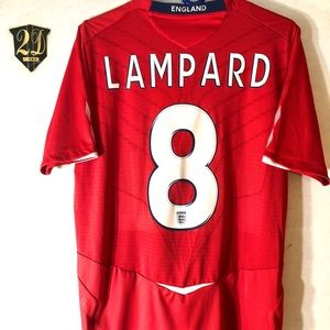 🦁Umbro England #8 Lampard 07/09 Soccer Jersey (M)